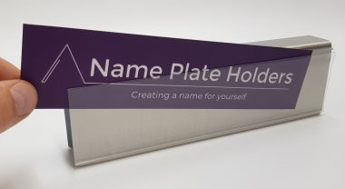 Brushed aluminium name holder