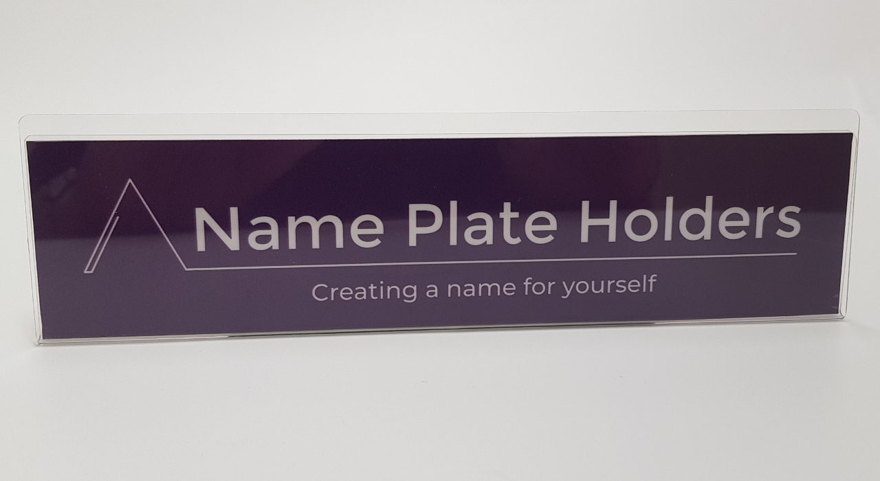 Flat Panel Acrylic Name Plate Holder For Flat Surfaces Like